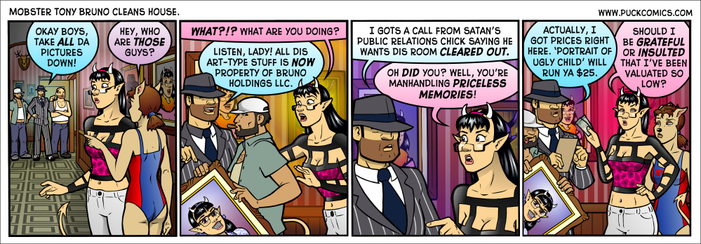 Real mobster types in my city look way more like the shifty crony carrying the painting in panel two. I'm sure real mobsters wear pinstripe suits somewhere, though...