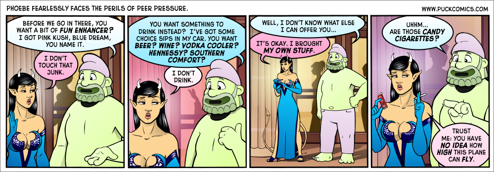 Don't ask where the purse in panel three came from.  It's better not to know.